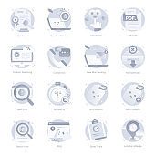 Flat Icons of Web and Interface