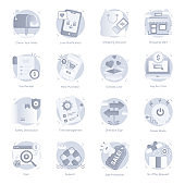 Set of Media and Ecommerce Flat Rounded Icons