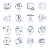 Set of Web and Ux Flat Rounded Icons
