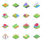 Set of Harvesting in Isometric Icons