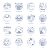 Set of Apps, Ui and Ux Flat Rounded Icons