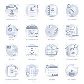 Set of Apps and Ux Flat Rounded Icons