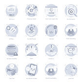 Flat Icons of Ui and Ux