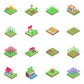 Set of Cultivation in Isometric Icons