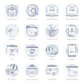 Set of Technology Flat Rounded Icons