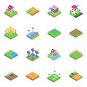 Set of Farming in Isometric Icons