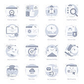 Set of Social Media Flat Rounded Icons