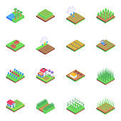 Set of Agriculture in Isometric Icons