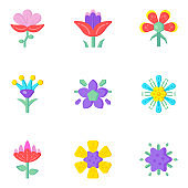 Top 16 Pixel Perfect Icons Set of Flat Blossom Designs