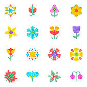 Trendy Set of Floriculture and Blooming Flowers Flat Icons