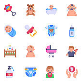 Flat Icons of Babies and Kids Accessories