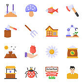 Pack of Nature and Tools Flat Icons