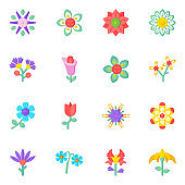 Unique Set of Flowers and Nature Editable Flat Icons