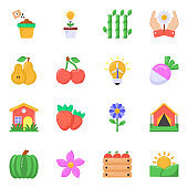 Pack of Agriculture and Food Flat Icons
