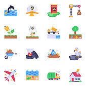 Trendy Set of Toxic Contamination Flat Icons