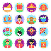 Pack of China Festival Flat Icons