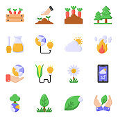 Pack of Agriculture and Nature Flat Icons