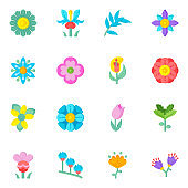 Amazing Set of Wildflowers and Blooming Flowers Flat Icons