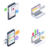Pack of User Experience and Ui Isometric Icons
