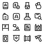 Set of Cultural Elements Glyph Icons