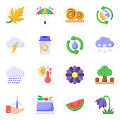 Pack of Weather Flat Icons