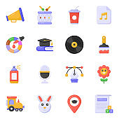 Pack of Education and Office Supplies Tools Flat Icons