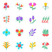 Flat Icons of Flowers and Blossoms in Trendy Colors