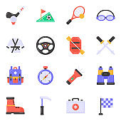 Flat Icons of Sports in Editable Style