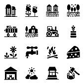 Pack of Farmland and Agriculture Tools Glyph Icons