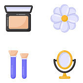 Pack of Beauty Accessories Flat icons