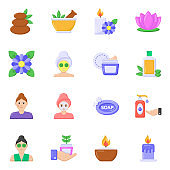Pack of Spa Flat icons
