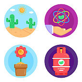 Pack of Ecology and Botany Flat Rounded Icons
