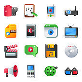 Pack of Music Equipment Flat Icons