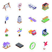 Pack of Warning Boards Isometric Icons