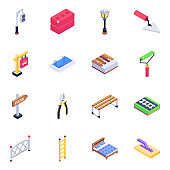 Pack of Roadboards and Tools Isometric Icons