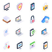Pack of Devices and Login Isometric Icons