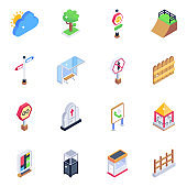 Pack of Fencing and Architecture Isometric Icons