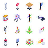 Pack of Buildings and Signage Isometric Icons