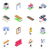 Pack of Traffic Barriers Isometric Icons