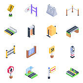 Pack of Security Barriers Isometric Icons