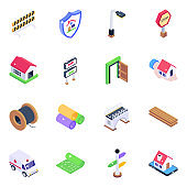 Pack of Construction Material Isometric Icons