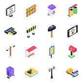 Pack of Home Applications Isometric Icons