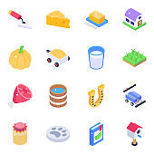 Pack of Agriculture Isometric Icons