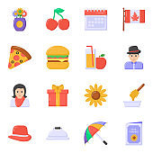 Pack of Food and Thanksgiving Flat Icons