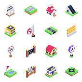 Pack of Warehouses and Fencing Isometric Icons
