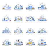 Pack of Cloud Services and Reporting Flat Illustration