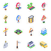 Pack of Traffic Sign Boards Isometric Icons