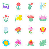 16 Unique Flat Icons Set of Floriculture and Flower