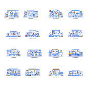 Pack of Statistics and Data Dashboard Flat Illustrations