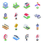 Pack of Direction Boards and Bridges Isometric Icons